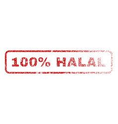 100 percent halal rubber stamp vector