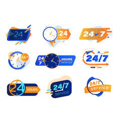 24-7 service icons set buttons tags or stickers vector