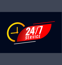 24 hour and 7 days service background with clock vector