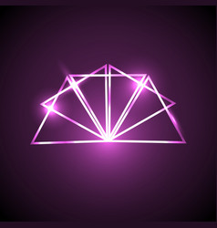 Abstract background with pink neon triangles vector