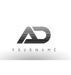ad black and white horizontal stripes letter logo vector image