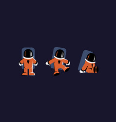 Astronaut character set flat characters vector