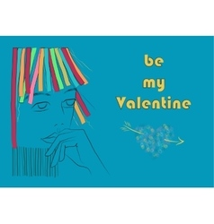 Be my Valentine Girl with colorful hair vector