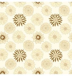 Beautiful beige line flowers vector image
