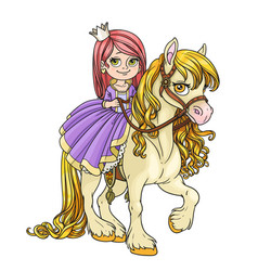 Beautiful little princess riding on horse isolated vector