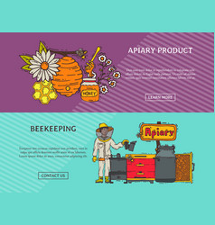 beekeeping banner apiary and beekeeper in vector image