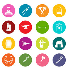 blacksmith icons many colors set vector image