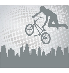bmx over abstract background vector image