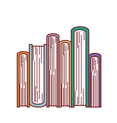 Book stacked in bottom view in colorful silhouette vector