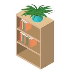 Bookcase isometric 3d icon vector image