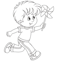 Boy with a whirligig vector image