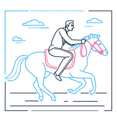 businessman on horseback - line design style vector image
