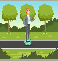 businessman riding on one wheel electric scooter vector image