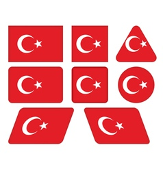 buttons with flag of Turkey vector image