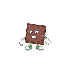 Cartoon character one bite chocolate bar vector