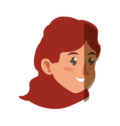character face woman young shadow vector image
