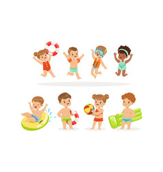 Children in swimming clothes with inflatable toys vector