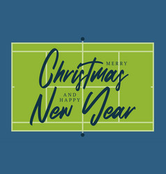 christmas and new year tennis court field vector image
