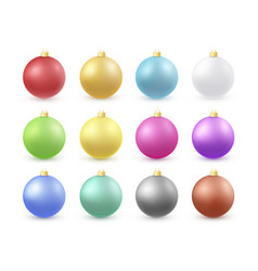 christmas balls 3d color set vector image