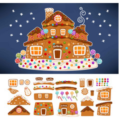 Christmas gingerbread cookie house constructor vector