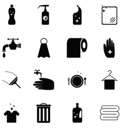 clean icon set vector image