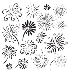 collection of hand drawn fireworks monochrome vector image