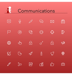 Communications Line Icons vector image