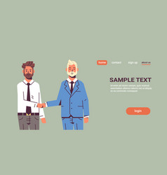 couple businessmen handshaking business partners vector image