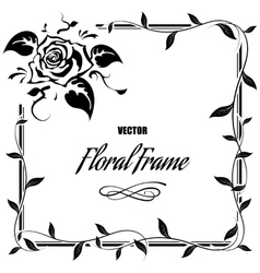 Decorative frame with roses and leaves vector image