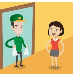 Delivery man delivering groceries to customer vector