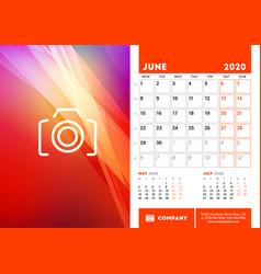Desk calendar planner template for june 2020 week vector