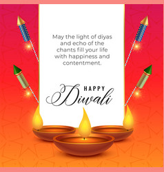 Diwali festival wishes background with diya and vector