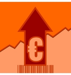 Euro sign on grow up arrow and bar code vector