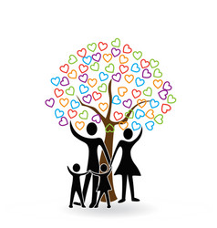 family and hearts tree icon logo symbol vector image