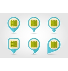 Fence flat mapping pin icon with long shadow vector image