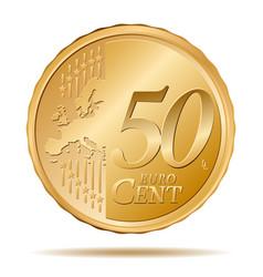 Fifty euro cent coin 50 vector