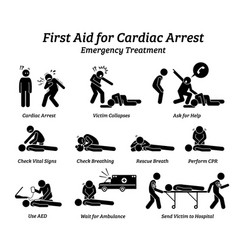 First aid response for cardiac arrest emergency vector