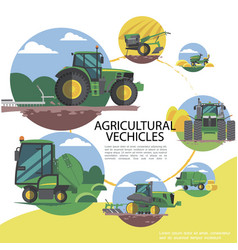 flat agricultural machinery round template vector image