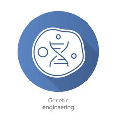 genetic engineering blue flat design long shadow vector image