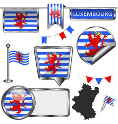 Glossy icons with flag of luxembourg belgium vector