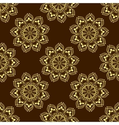 Gold Seamless Mandala Pattern over dark vector