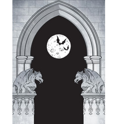 gothic arch with gargoyles and full moon vector image