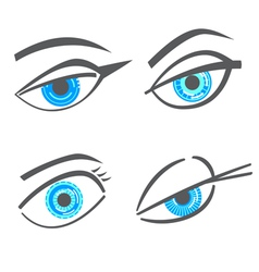 Graphic robot woman look eyes set vector