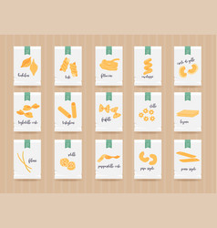 hand drawn pasta mock up set different types of vector image