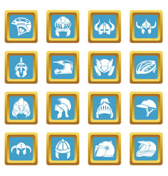 Helmet icons set sapphirine square vector