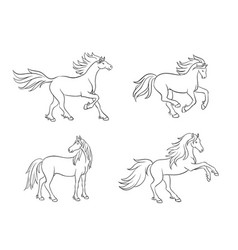horses in contours vector image