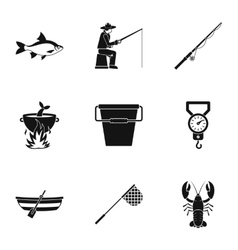 Hunting for fish icons set simple style vector
