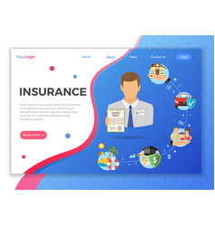 insurance services landing page vector image