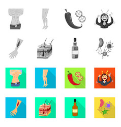 Isolated object of medical and pain logo set vector