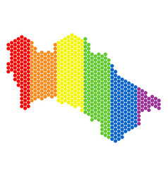 lgbt spectrum pixel turkmenistan map vector image